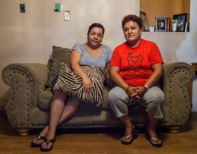 """""""You get used to it. You work every day and come back really tired,"""" said Rosa Maria Peña about contaminated tap water in Tornillo, which has arsenic levels above the legal limit. Peña, who is seated on the right beside Lorena Hernandez, used to work as an assembly worker in nearby Wrangler plant before it shut down, while Hernandez is a seasonal pecan farmworker. Picture by Maria Esquinca."""
